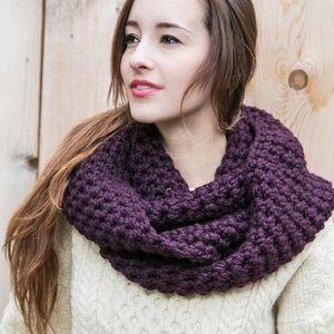 Dark Purple Chunky Knit Infinity Scarf